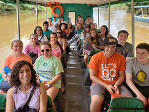 BHS group in boat on Costa Rica river