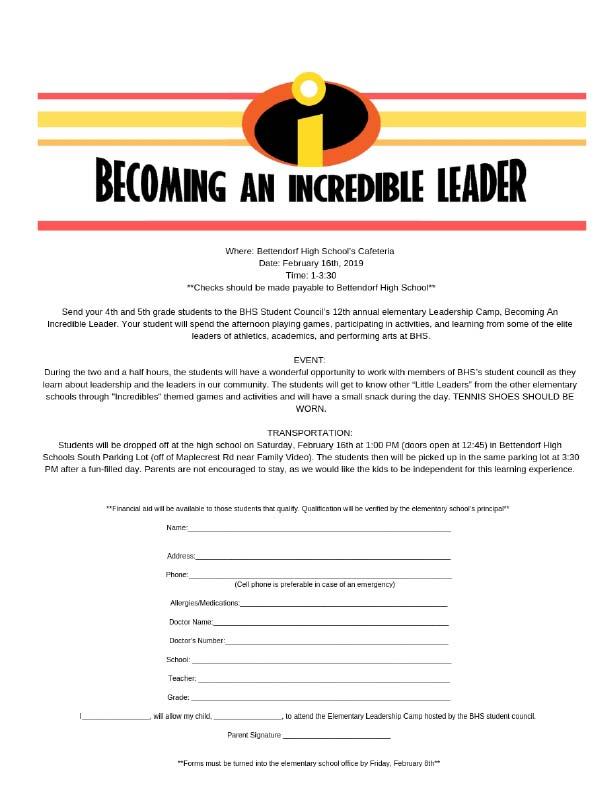 Bettendorf High School :: Elementary Leadership Camp - Feb. 16